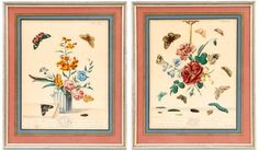 Group of 2 Framed Moses Harris Etchings, 1750 : Lot 16. Estimated $300-$500