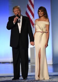 A post by Melania's personal stylist Hervé Pierre reveals the original sketch and up-close angles of the gown's silk crepe structure.