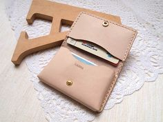 Personalized Card Holder / Coins Purse - Leather - Hand Stitched. $76.00, via Etsy.