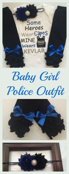 Baby girl outfit for my granddaughter, her daddy is a cop and is her hero! My Dad My Hero, My Daddy, Police Outfit, Police Wife Life, Baby Kids, Baby Boy, Body Suit With Shorts, Fathers Day Shirts, Baby Girl Gifts