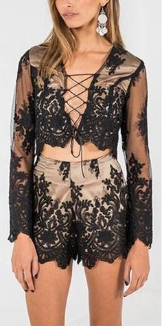 Conjunto Cropped e Short de Renda - Compre Online | DMS Boutique