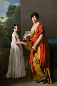 ab. 1799 Gioacchino Giuseppe Serangeli - Portrait of Germaine Faipoult de Maisoncelle and Her Daughter Julie Playing the Spinet Aka drapey seethrough loungewear from the past