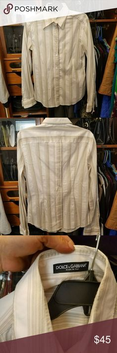DOLCE&GABBANA button down shirt Button down cotton shirt with subtlety woven in stripes in shades of brown. Satin ribbon down facing of buttons. Pleated & overstitched in the back adds a nice touch to indicate it's not your average shirt. Dolce & Gabbana Tops Button Down Shirts