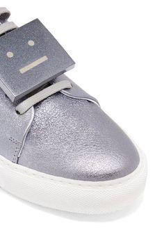 Acne Studios - Adriana Space Plaque-detailed Metallic Textured-leather Sneakers - IT