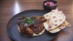 Charcoal Chicken With Toum, Flatbread and Pickle Salad Charcoal Chicken Recipe, Masterchef Recipes, Grilled Flatbread, Lemon Seeds, Masterchef Australia, Yummy Food, Delicious Recipes, Delicious Dishes, Tasty