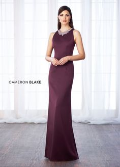 Cameron Blake 116659 - Sleeveless novelty crepe sheath with front and back hand-beaded jewel necklines, keyhole back, sweep train. NEW Color: Eggplant