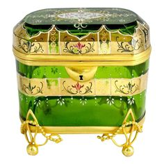 Large Moser Green Glass Enameled Casket  Grand Tour Antiques on Ruby Lane