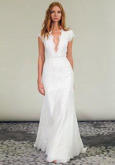 Plunging v neck lace sheath dress   Alyne by Rita Vinieris   https://www.theknot.com/fashion/adella-alyne-by-rivini-wedding-dress