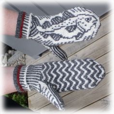 Knitted Mittens Pattern, Knit Mittens, Knitted Gloves, Fair Isle Knitting, Free Knitting, Baby Knitting, Knitting Machine Patterns, Fingerless Mittens, Wrist Warmers