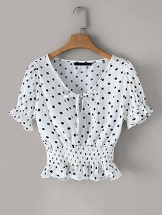 Shein Tie Neck Shirred Polka Dot Blouse Source by sandramariaaraujoa blusas Indian Blouse Designs, Crop Top Outfits, Casual Outfits, Cute Outfits, Polka Dot Blouse, Polka Dots, Fashion Designer, Fashion News, Fashion Trends