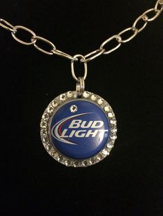 Bud Light beer bottle cap top blue white silver by Crazycapladies