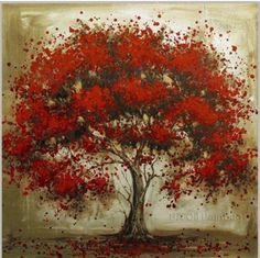 hand painted large modern square canvas art cheap tree landscape oil painting on canvas red wall art picture for home decoration Cheap Canvas Art, Canvas Art Prints, Canvas Wall Art, Oil Painting Flowers, Oil Painting Abstract, Painting Trees, Tree Paintings, Red Wall Art, Tree Wall Decor