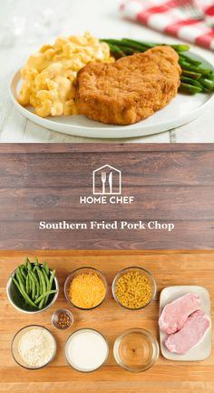 "We could throw out a bunch of gratuitous ""y'alls"" and ""reckons"" but it's the flavor of the South, not the words, that count here. And in this dish, we're giving you flavor aplenty: pork chops are breaded and fried, crispy and juicy. Green beans are given a nice kick with red pepper flakes, and creamy mac and cheese close out a meal that we think can be described with one classic Southern phrase: comfort food."