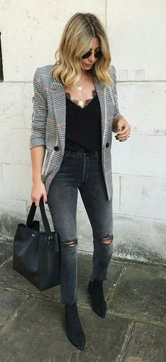 fall street style. lace cami top. blacker. skinny jeans. ankle boots.