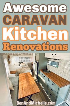 These caravan ktichen renovations will have you rushing to replace your caravan kitchen cupboards, find the perfect sink and tap, and paint! Best Caravan, Diy Caravan, Caravan Decor, Retro Caravan, Retro Trailers, Camper Trailers, Travel Trailers, Motorhome Interior, Rv Interior