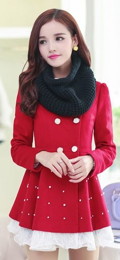 Double-breasted woolen coat, coat with lace, asian winter coats, coats from asia, buy asian coats uk, free delivery to europe