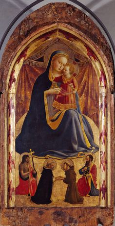 Madonna dell'Umiltà  Beato Angelico [Firmament with four supports, veil in the background]