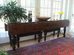 8' long reclaimed old oak drop leaf table. You could use this at the back of a sofa when you don't need it available for dining. Barnwood Dining Table, Oak Table, Farmhouse Table, Dining Room Table, Kitchen Tables, Modern Farmhouse, Traditional Dining Tables, Reclaimed Wood Furniture, Salvaged Wood