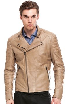 Armani Exchange Leather Motorcycle Jacket.  A bit hot out for this right now, but come winter...
