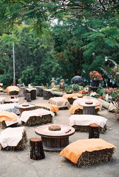 Outdoor wedding reception.  Prefect for fall country weddings
