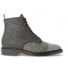 Thom Browne Herringbone Tweed Derby Boots | MR PORTER