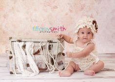 vintage 6 month baby girl photo, pearls and lace