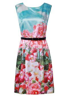 Blue Sleeveless Cloud Floral Print Belt V-Back Dress