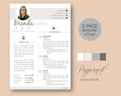 Stylish Resume Template / CV Template Cover by ResumeFoundry                                                                                                                                                                                 More