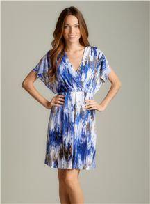 Calvin Klein Slit Fluttersleeve Printed Surplice Dress