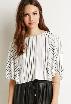 Striped Dolman Sleeve Blouse | LOVE21 | #f21contemporary