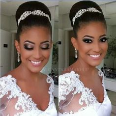 33 Ideas wedding hairstyles african american black bride makeup for 2019 Natural Wedding Makeup, Wedding Hair And Makeup, Bridal Makeup, Hair Makeup, Bridal Updo, Bridal Nails, Bridal Gowns, Eye Makeup, African Hairstyles