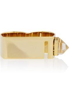 Esteban Cortazar by Alican Icoz 22-karat gold-plated quartz double ring NET-A-PORTER.COM