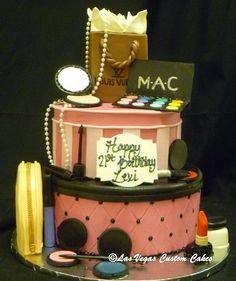 Hat Boxes Makeup Themed Ladies Birthday Cake Made By Las Vegas Custom Cakes