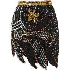 Rodarte Silver And Gold Hand Beaded Skirt ($2,990) ❤ liked on Polyvore featuring skirts, mini pencil skirt, high waisted skirts, floral print skirt, beaded skirt y floral mini skirt