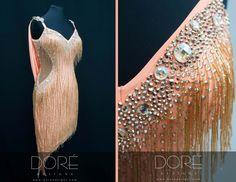 Peach Latin w/ All Over Gold Beaded Fringe & Asymmetric Skirt