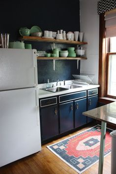 Veronica & Keith's Handmade Chic mint and navy kitchen, colors