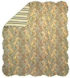 Paisley Quilt Style Quilted Cotton with Fiberfill Reversible Throw on eBay!