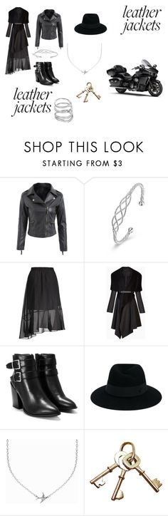 """""""Leather Jackets"""" by veraamoris ❤ liked on Polyvore featuring BCBGMAXAZRIA, Nasty Gal, Maison Michel, Minnie Grace, Swarovski and leatherjackets"""