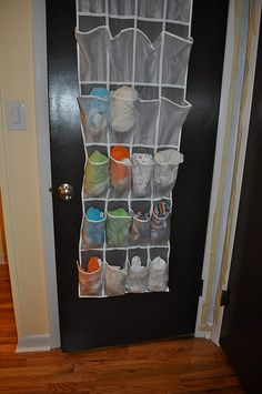 cloth diaper storage - put a cloth diaper in each pocket. Hang on door or on wall next to changing table.