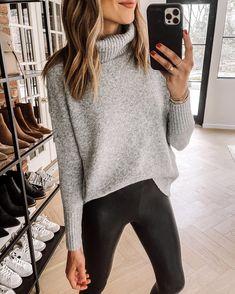 Fashion Jackson Wearing Amazon Fashion Grey Turtleneck Sweater Black Faux Leather Leggings Cozy Sweaters, Black Sweaters, Sweaters For Women, Sweater Fashion, Sweater Outfits, Leggings Fashion, Grey Turtleneck, Grey Sweater, Fashion Jackson