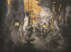 """The Golden Age - Graphite and gold leaf on Arches paper - 23/17"""" - 58/43cm - Yoann Lossel - 2012"""