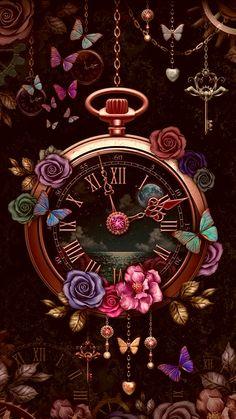 Clock Wallpaper, Flower Iphone Wallpaper, Butterfly Wallpaper, Cute Wallpaper Backgrounds, Cellphone Wallpaper, Pretty Wallpapers, Screen Wallpaper, Aesthetic Iphone Wallpaper, Disney Wallpaper
