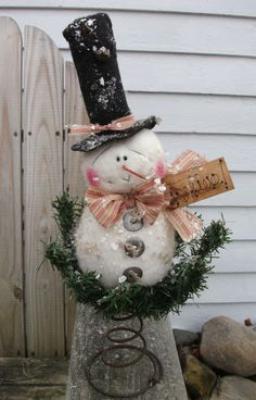 Folk Primitive Christmas Decoration Snowman Doll Tree Topper Shelf Nodder Tag | eBay