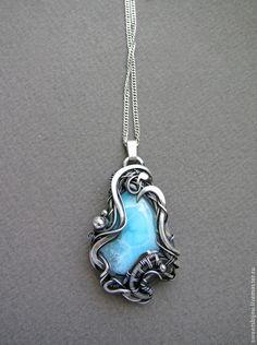 """Купить Серебряный кулон """"Lord of the ocean"""" - голубой, нежно голубой, небесный"""