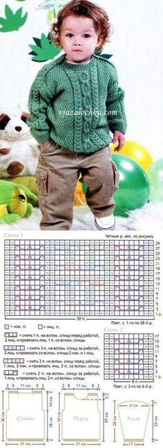 Jumper for the boy – munawar mughal Baby Boy Knitting Patterns, Knitting For Kids, Crochet For Kids, Knitting Stitches, Knit Patterns, Baby Knitting, Crochet Baby, Knit Baby Sweaters, Knitted Baby Clothes