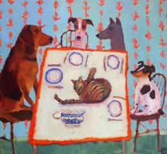 What's for Dinner by Vanessa Cooper on Curiator, the world's biggest collaborative art collection. Art And Illustration, Vanessa Cooper, Digital Museum, Collaborative Art, Naive Art, Art For Art Sake, Whimsical Art, Animal Paintings, Dog Art