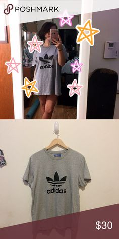 adidas men's logo tee 🌟 looks new!! i wear this oversized (obviously lol) i love this shirt tbh idk why i'm selling it 🌙🌟 Adidas Tops Tees - Short Sleeve