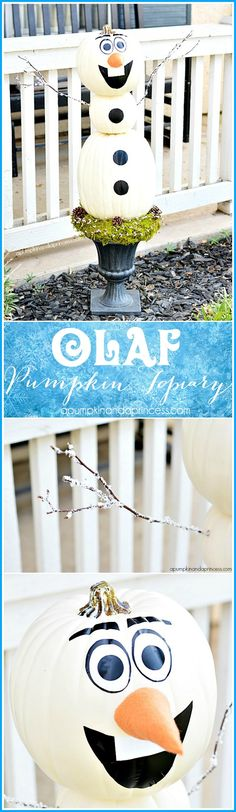 DIY Olaf Pumpkin Topiary