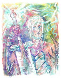 """Fenris, Dragon Age 2, 5"""" x 7"""" Colorful  Mixed Media Art Print #DragonAge2 #da2 #Fenris #LemonWatercolor"""