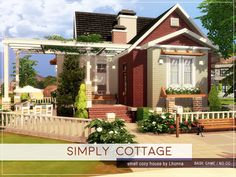 The Sims 4 mody do gry: Simply Cottage od Lhona Sims 4 House Plans, Sims 4 House Building, Sims 4 Houses Layout, House Layouts, Sims 4 Family House, Small House Layout, Muebles Sims 4 Cc, Sims 4 House Design, Casas The Sims 4